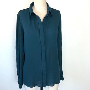 T Tahari Black Piping Button Down Blouse Small